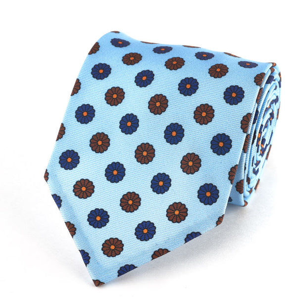Silk Tie - Medallion in Light Blue.