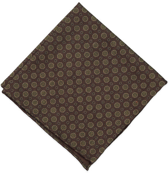 Brown Floral Wool Challis Pocket Square