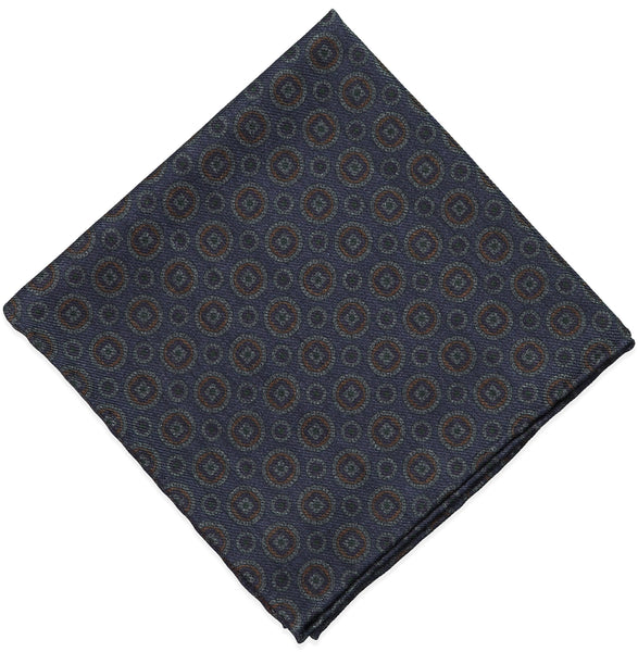 Blue x Wool Challis Pocket Square