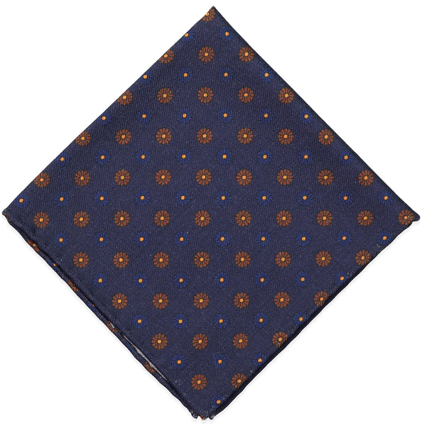 Navy Floral Wool Challis Pocket Square