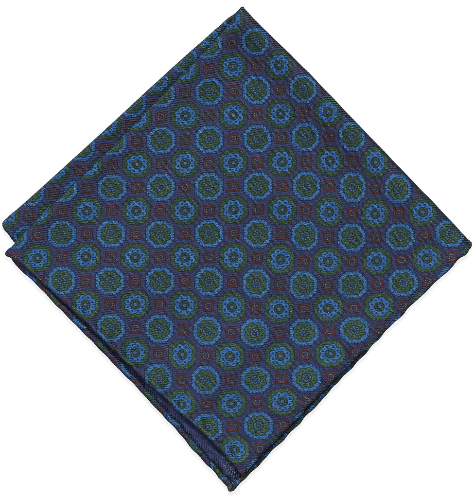Blue Floral Wool Challis Pocket Square