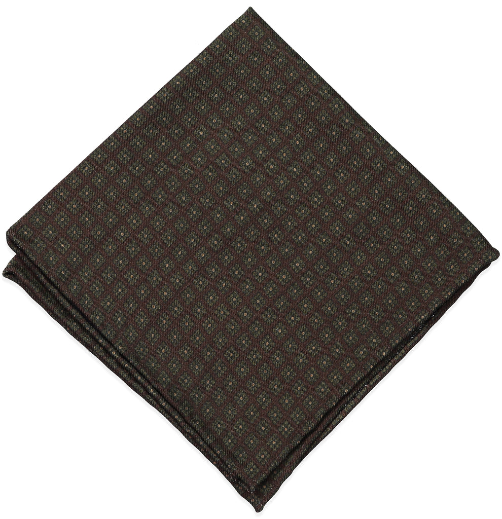 Brown Medallion Wool Challis Pocket Square