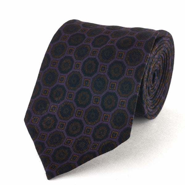 Wool Challis Medallion Print Tie - Light Purple