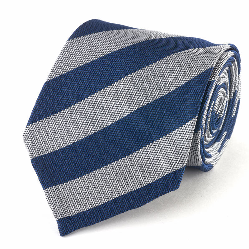 Silk Tie - Textured Blue and Grey Stripe.