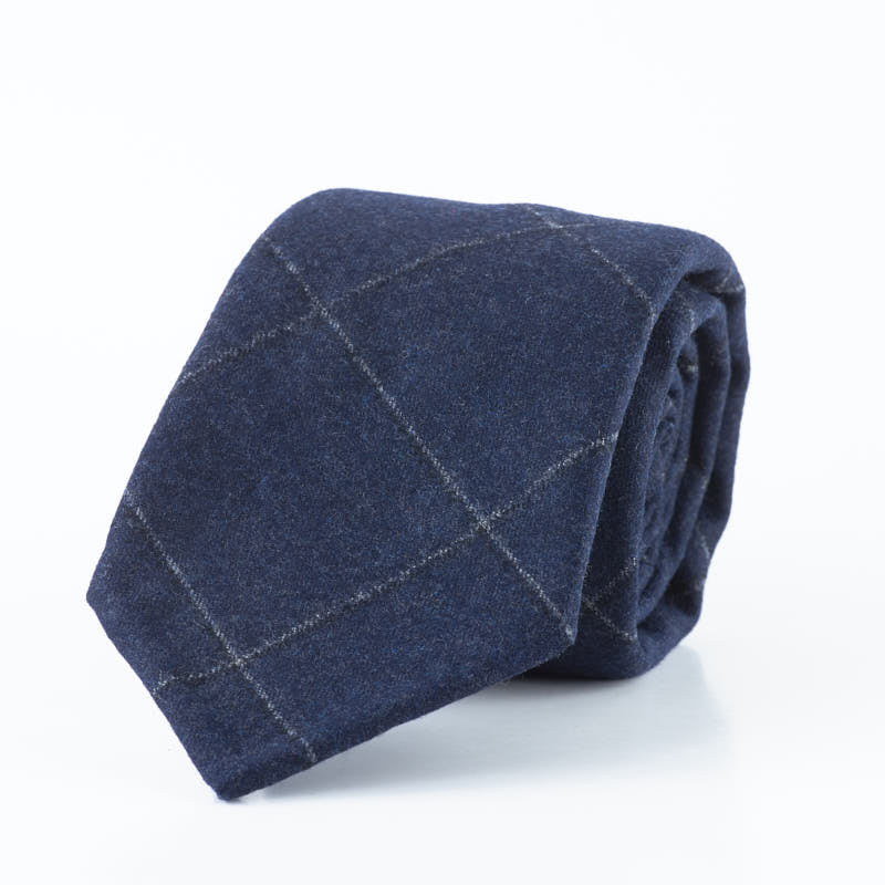 Blue Cashmere Blend Windowpane Tie.