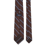 Brown with Navy/White Stripe Repp Tie