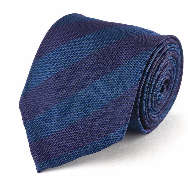Silk Tie - Textured Blue and Purple Stripe.