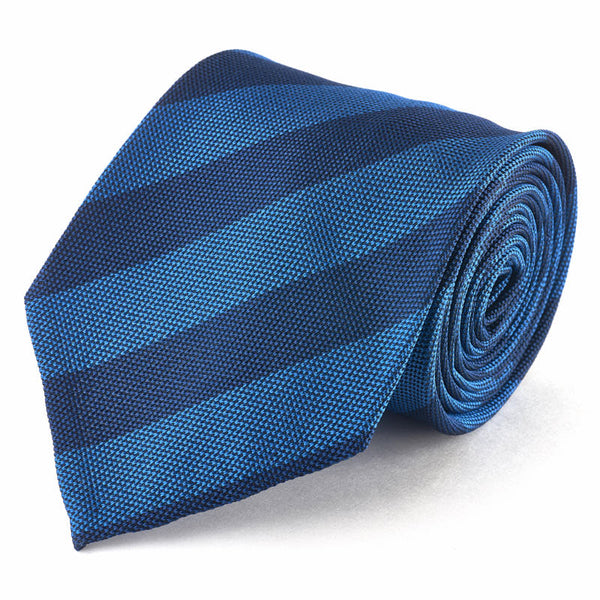 Silk Tie - Textured Light Blue and Dark Blue Stripe.