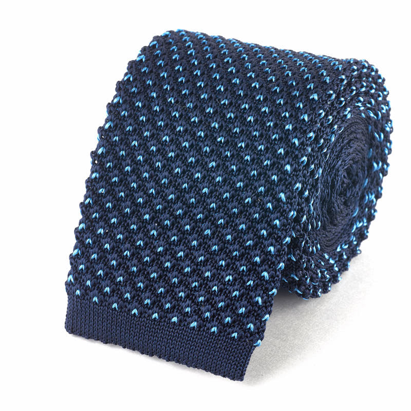 Knit Tie - Navy with Blue Dots