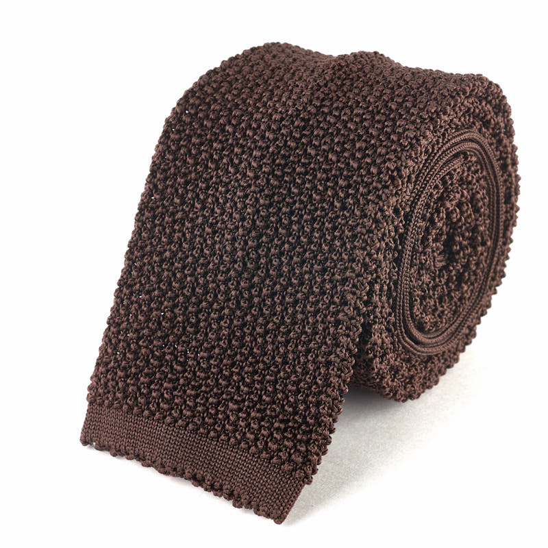 Knit Tie - Brown