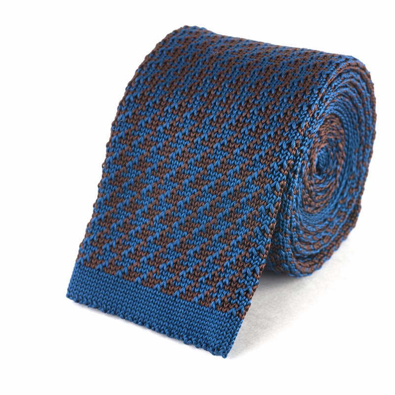Knit Tie - Blue and Brown Houndstooth