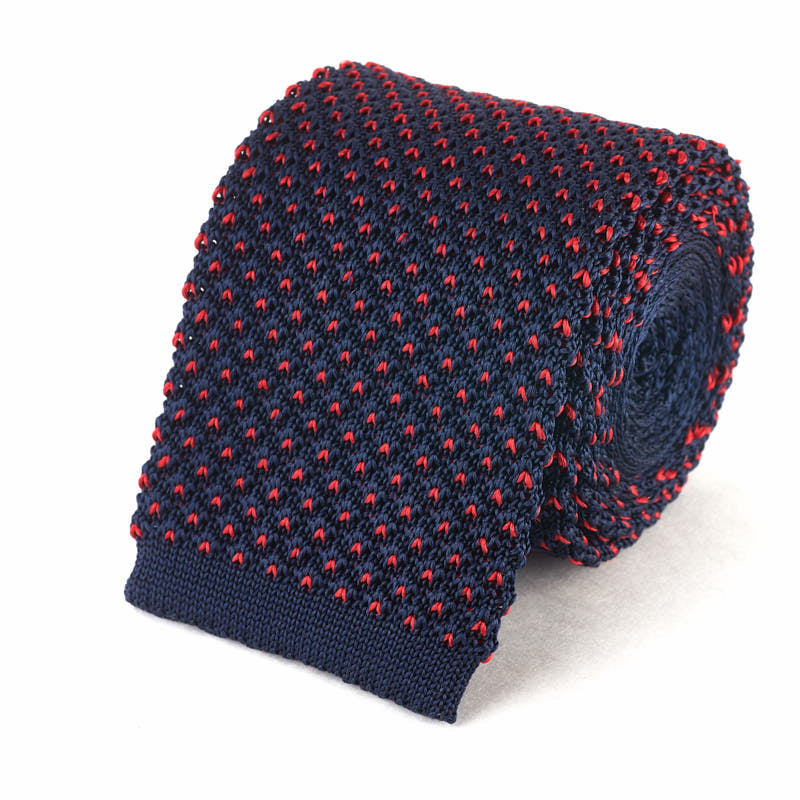 Knit Tie - Navy with Red Dots