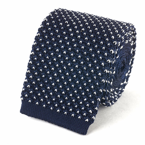 Knit Tie - Navy with White Dots