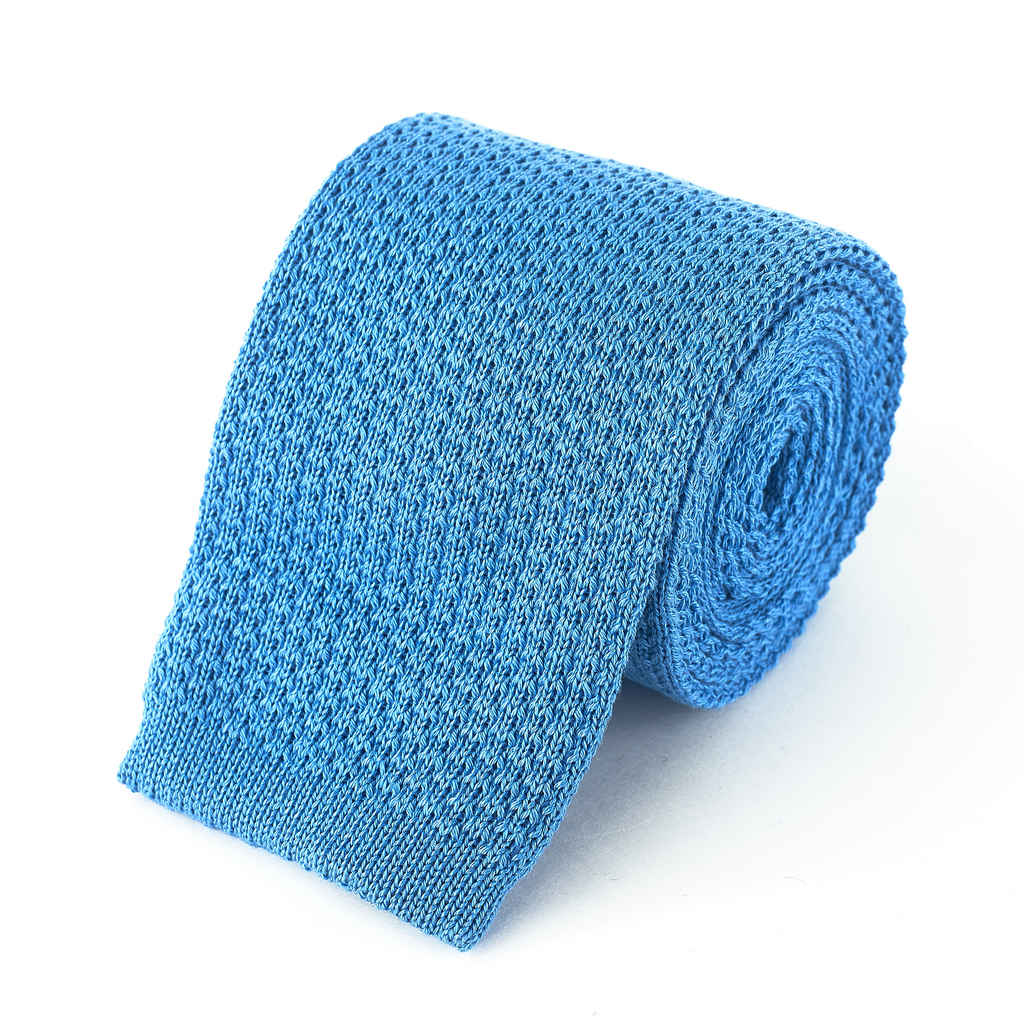 Knit Tie - Sky Blue Cotton