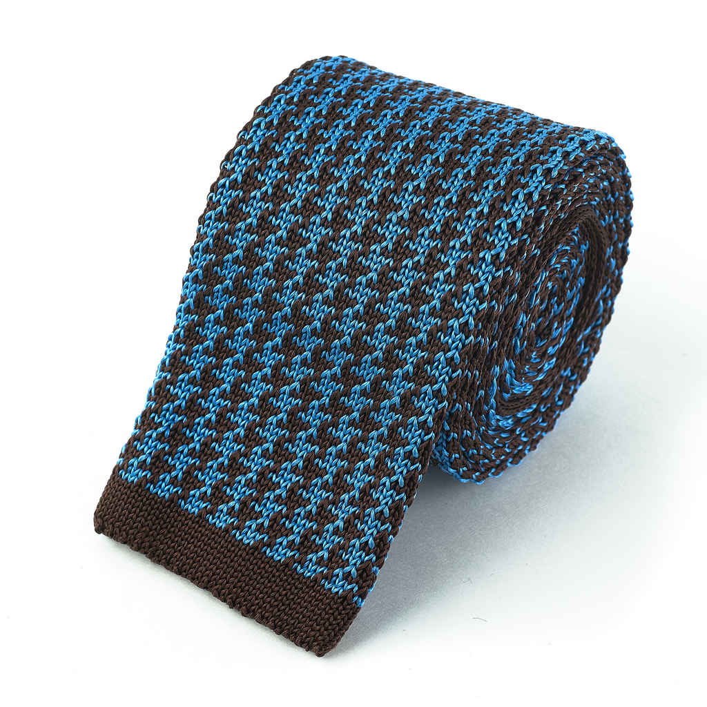 Knit Tie - Brown and Sky Blue Houndstooth