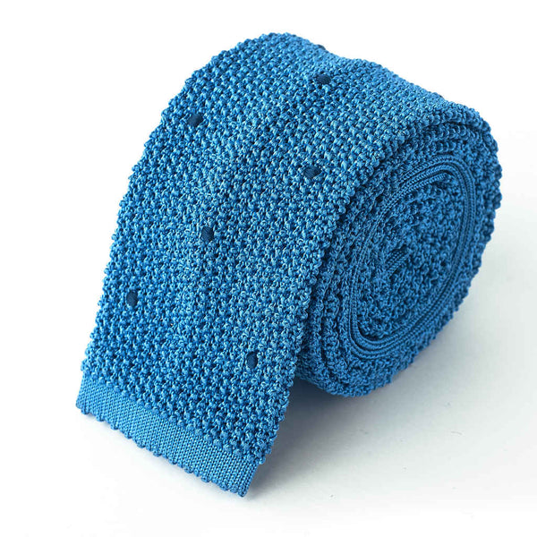 Knit Tie - Sky Blue with Navy Hand Sewn Spots