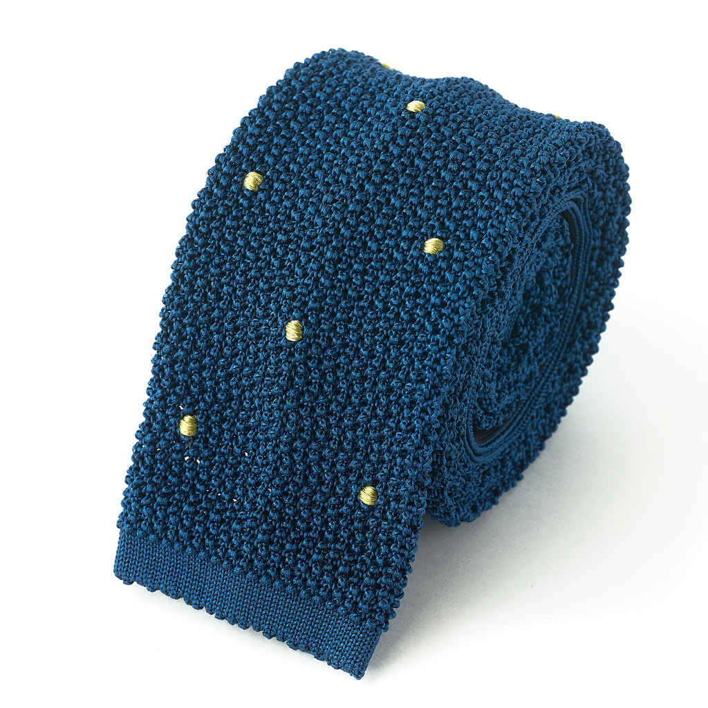 Knit Tie - Blue with Yellow Hand Sewn Spots