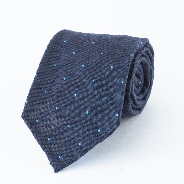 Raw Silk Blue Spotted Tie.