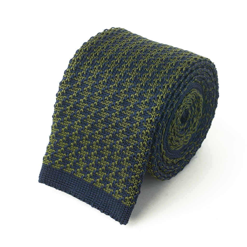 Knit Tie - Olive & Navy Houndstooth