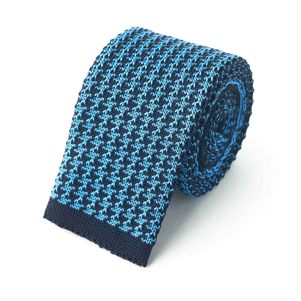 Knit Tie - Navy & Blue Houndstooth