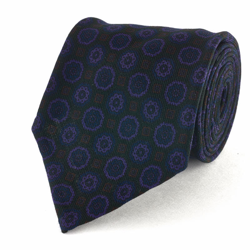 Wool Challis Medallion Print Tie - Dark Purple