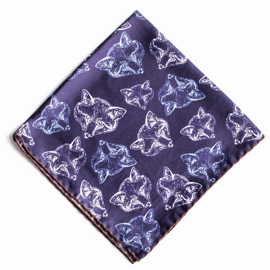 Pocket Square - Navy Silk Fox Print