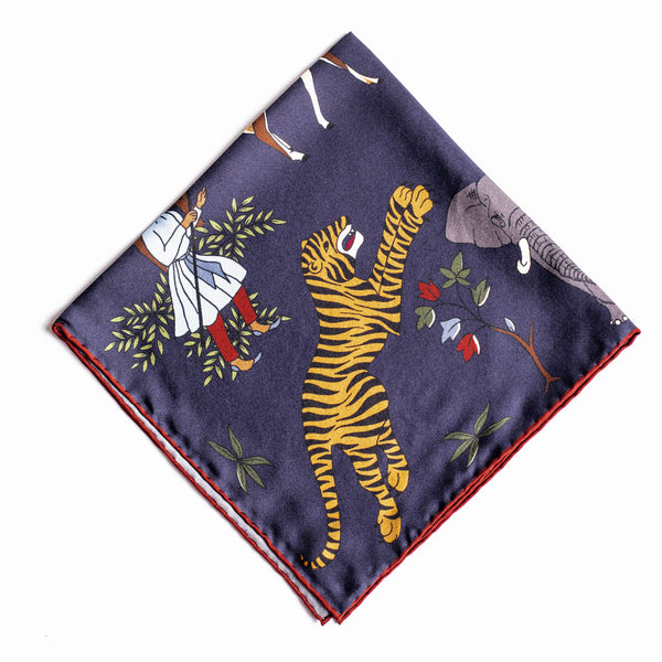 Pocket Square - Navy Silk Tiger Print