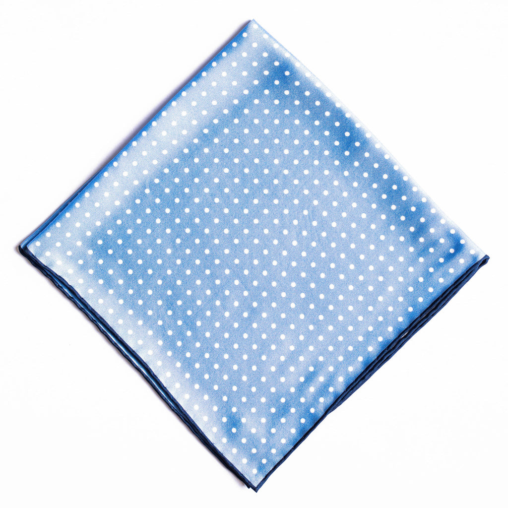 Pocket Square - Sky Blue with White Spots