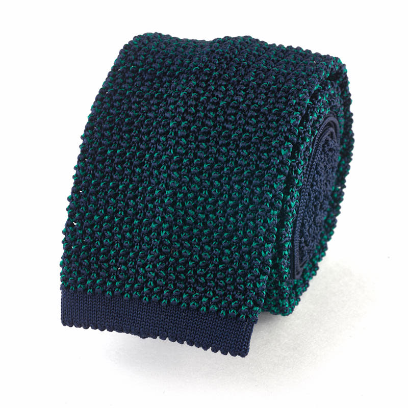 Knit Tie - Navy and Bottle Green