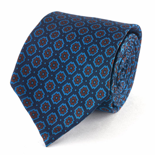 Silk Medallion Tie in Blue.