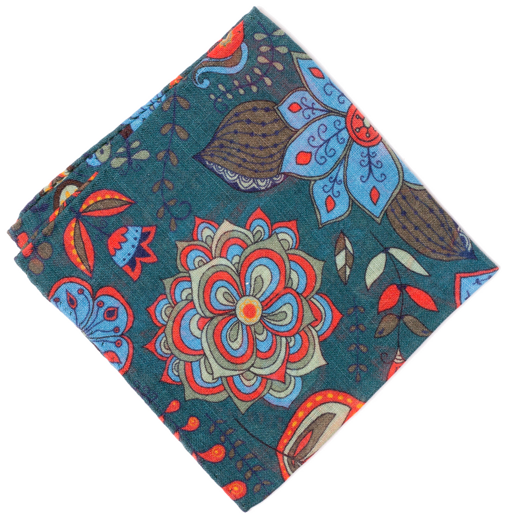 Pocket Square - Green Floral