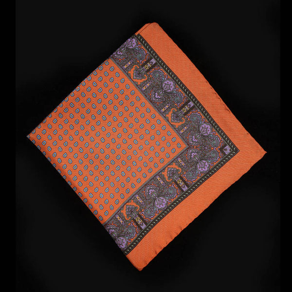 Pocket Square - Orange with Paisley