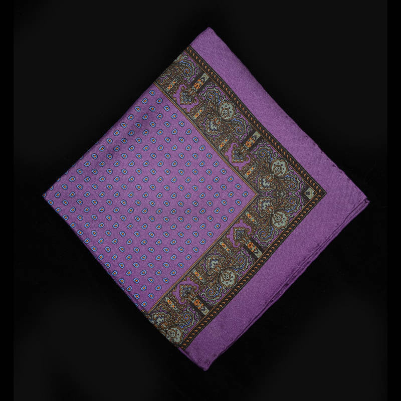 Pocket Square - Purple with Paisley