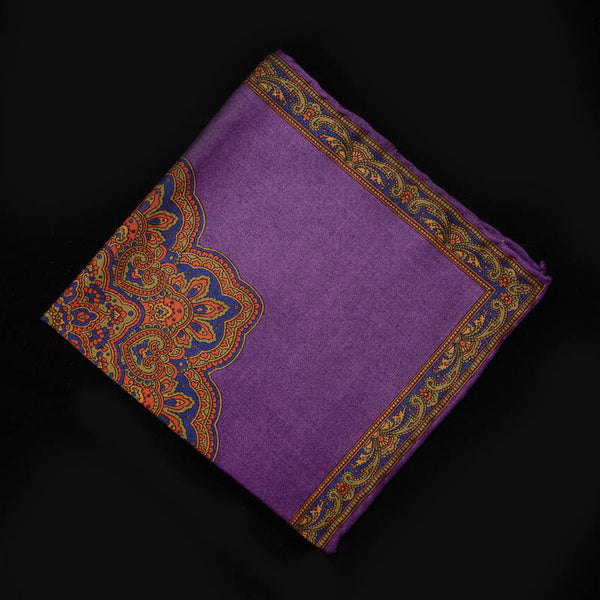 Pocket Square - Royal Paisley on Purple Field