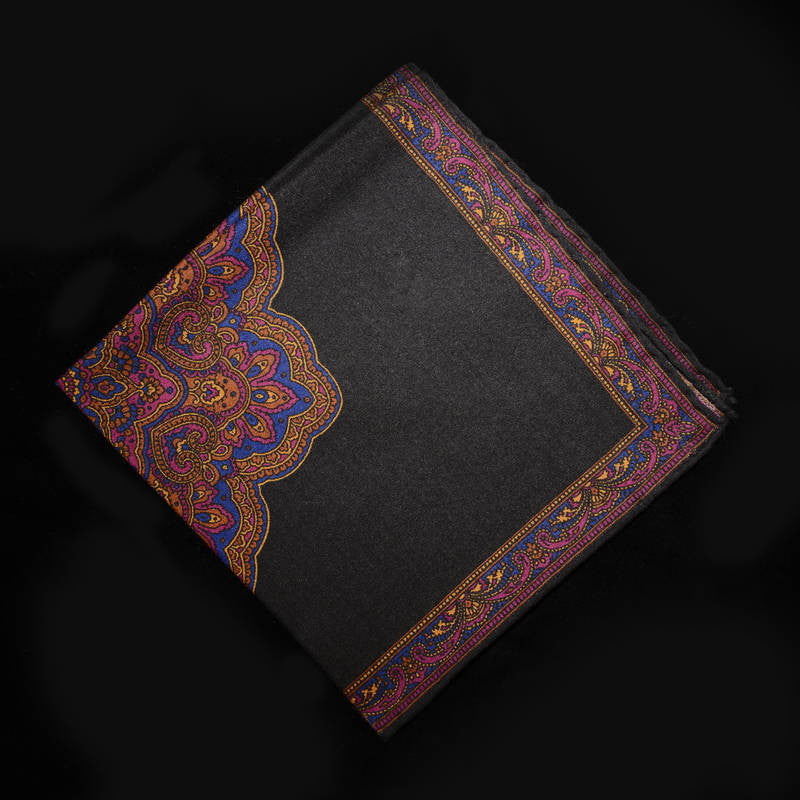 Pocket Square - Royal Paisley on Black Field