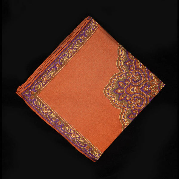 Pocket Square - Royal Paisley on Orange Field
