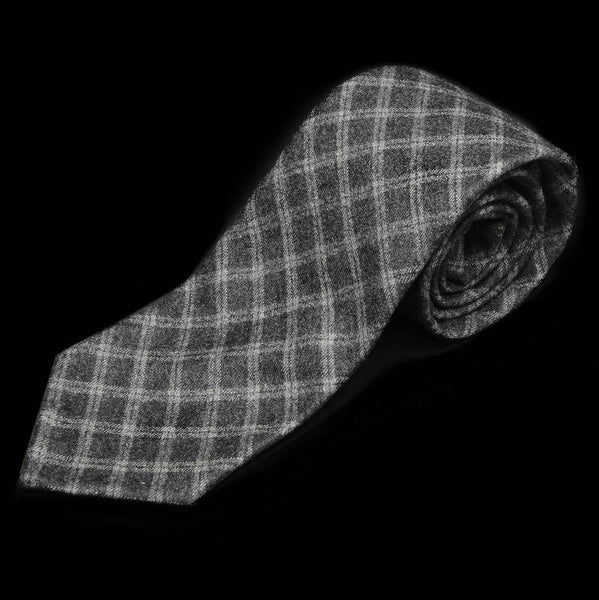 Wool and Cashmere Grey Check Tie