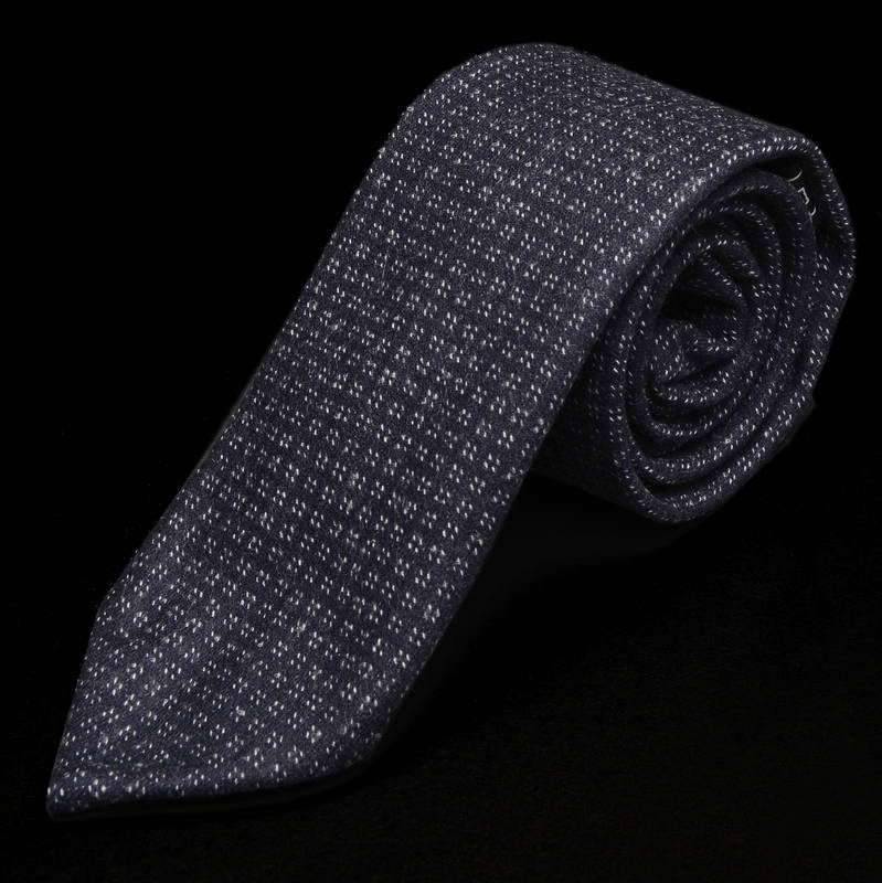 Wool Cashmere Purple Geometric Tie