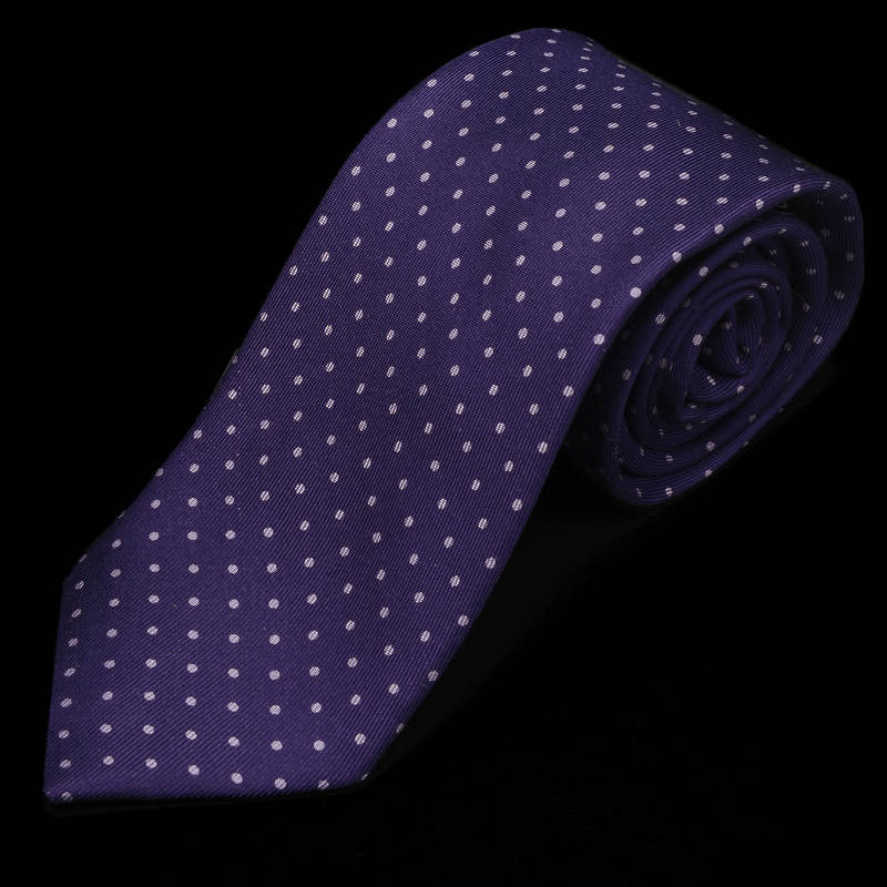 Silk Polka Dot Purple Tie
