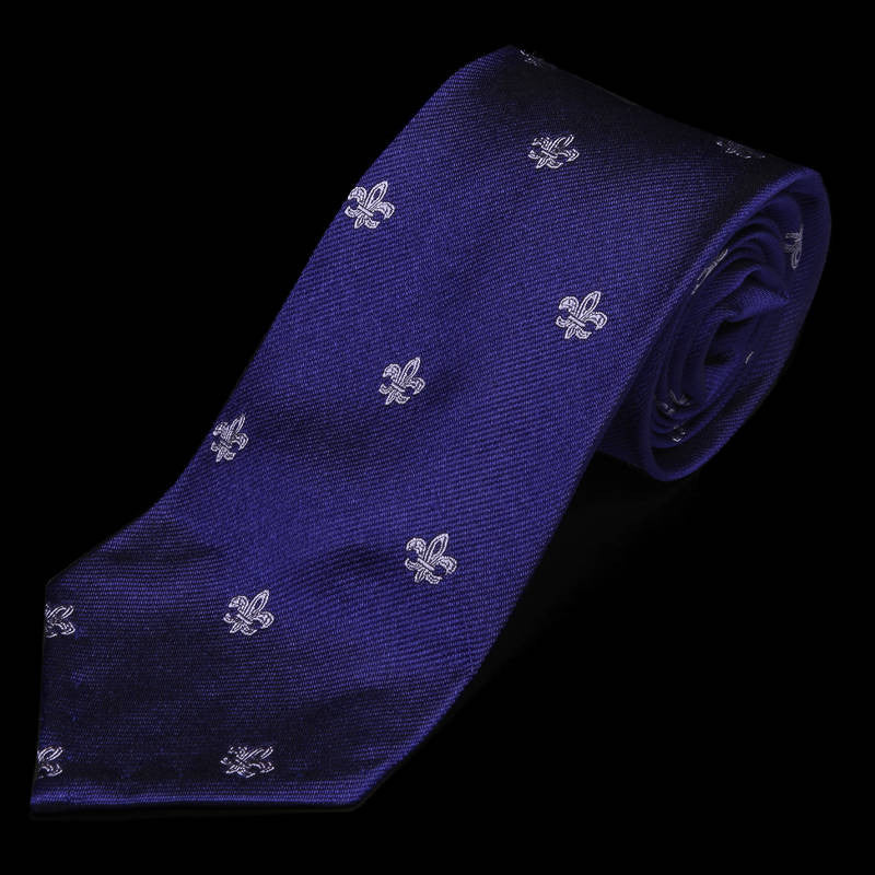 Fleurs de Lys Royal Purple Silk Tie