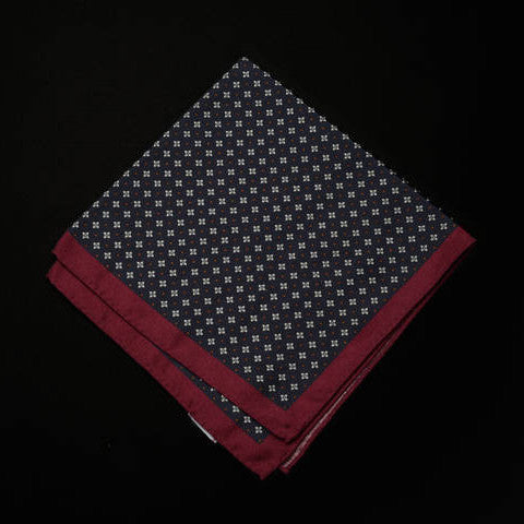 Pocket Square - Geometric Pattern with Berry Edge