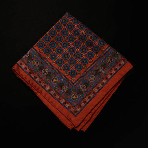 Pocket Square - Multi Pattern on Red Field