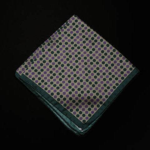 Pocket Square - Multi Pattern with Green Trim