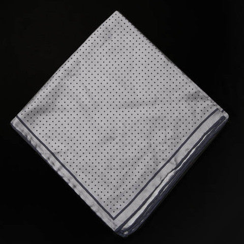Pocket Square - Grey with Navy Polka Dots