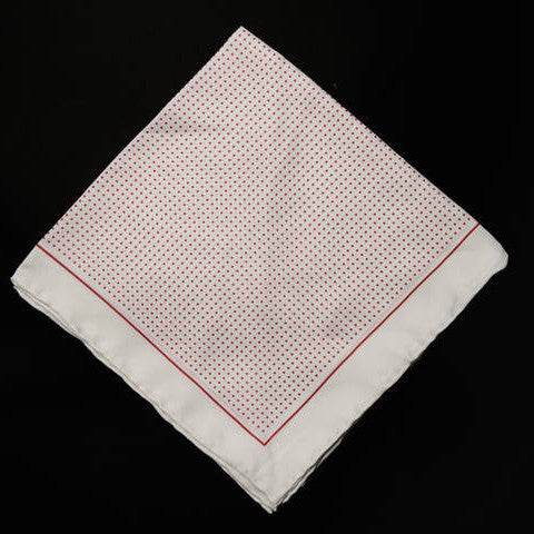 Pocket Square - White with Red Polka Dots