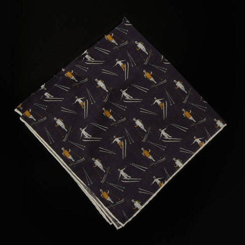 Pocket Square - Nordic Skiers and Jumpers - Purple