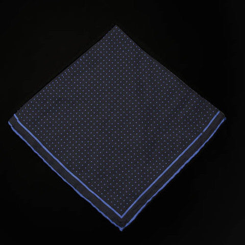 Pocket Square - Black with Blue Polka Dots