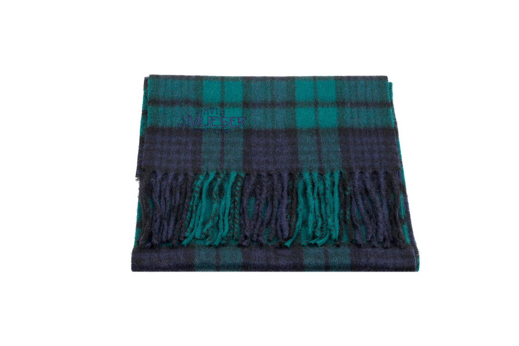Cashmere Scarf - Emerald Green Plaid