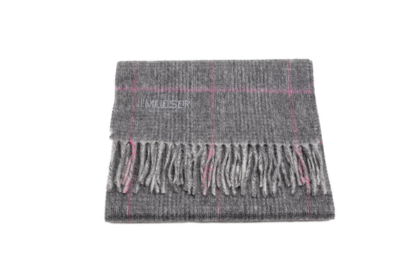 Cashmere Scarf - Gray and Red Plaid