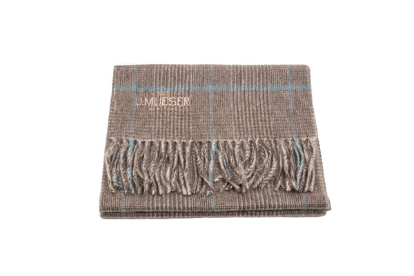 Cashmere Scarf - Gray and Sky Plaid
